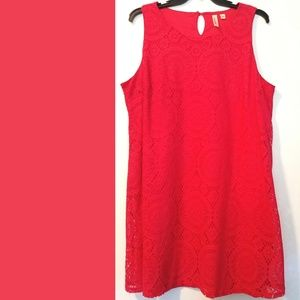 3X Tacera Coral Red Sleeveless Lace Dress